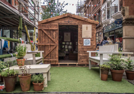 tales from the plot garden shed event installation at Dig the City 2015 Manchester