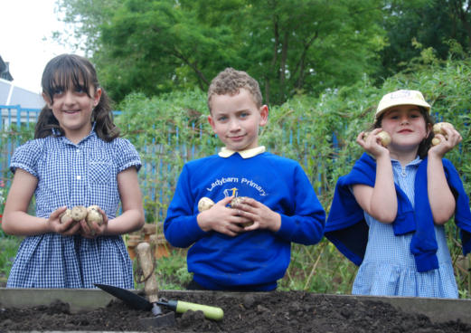 three school children hold potatoes they have harvested in school gardening project